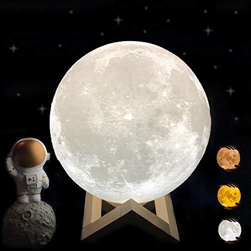 Lampe Lune 3D, ACED 18cm 3 couleurs Dimmable lampe de chevet, lampe lune tactile veilleuse rechargeable enfant Table Bureau Lampe, chambre décor lumières, Led lune pour Anniversaire Noël Fête