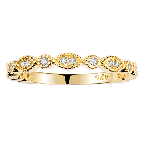 Milgrain Marquise & Round Cubic Zirconia Eternity Ring Stacking Infinity Wedding Band Sterling Silver Platium Plated or Rose Gold Plated Size 3.5-9.5
