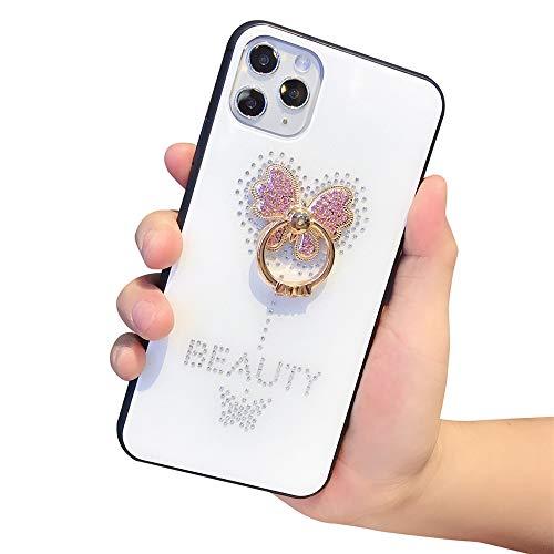 Lozeguyc Schutzhülle für iPhone 11 mit Ständer, mit Strasssteinen, luxuriös, modisch, modisch, modisch, mit Strass-Ständer iphone 11 6.1 inch weiß
