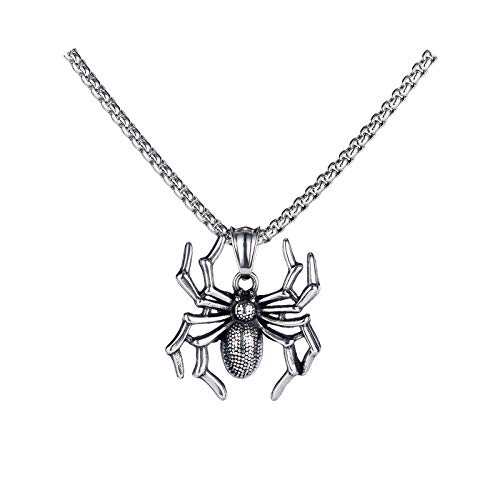 BSbattle Fashion Men's Necklaces Spider Pendant Punk Insect Stainless Steel Necklace Hip-Hop Cool Male Jewelry-Silver