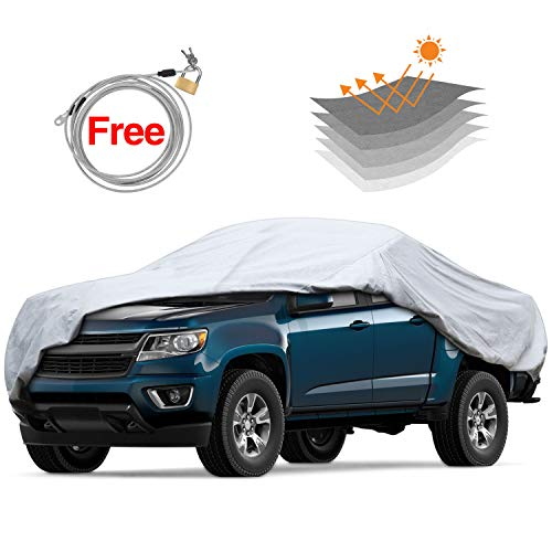 KAKIT 6 Layers Universal Truck Cover Heavy Duty for Outdoor with Lock Waterproof & Windproof Up to 224'