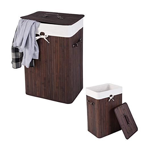 RELAX4LIFE Wäschekorb aus Bambus, 72L Wäschesammler, Wäschebox mit Griffen & Deckel, Wäschetruhe mit abnehmbarem Wäschesack, freistehend & rechteckig, im Landhausstil, für Waschküche, Bad (Braun)