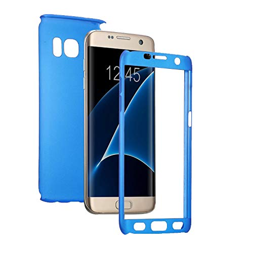 Carcasa compatible con Samsung Galaxy A520/A5 2017 con [vidrio templado] 360 grados de protección completa 2 en 1, antigolpes, antiarañazos, funda dura y ultrafina (azul)
