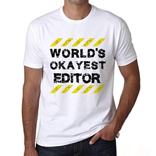 Hombre Camiseta Gráfico T-Shirt Worlds Okayest Editor Blanco