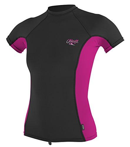 O'NEILL Premium Skins UPF 50+ - Camiseta de Manga Corta para Mujer, Mujer, Color Black/Berry, tamaño Large