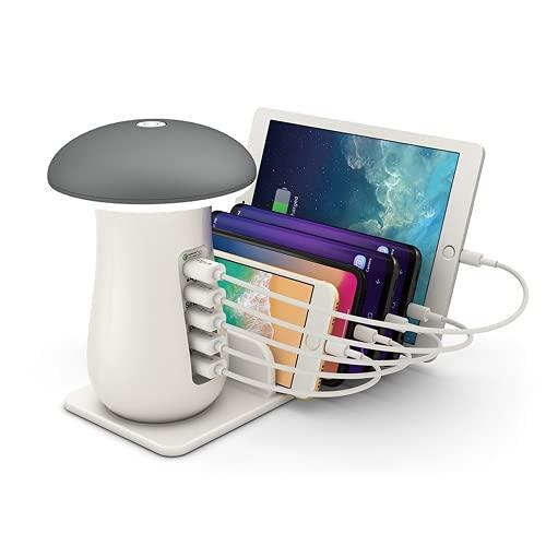 METBOM Estación de Carga USB Dock - Cargador rápido de 5 Puertos: luz de Lectura de luz Nocturna, Compatible con iPad iPhone y teléfono móvil y Tableta de Android