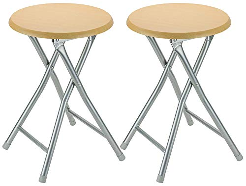 DecorRack Wooden Seat Folding Stool, 18 inch...