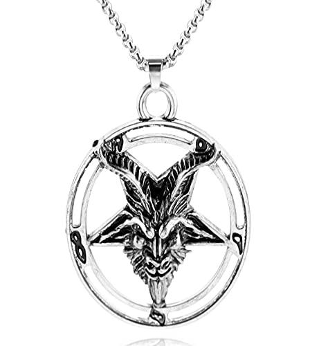 Collar De Cabeza De Cabra De Estrella De Cinco Puntas Invertida Bafengt, Collar Con Colgante De Metal Misterioso Satanismo, Joyería Punk Fresca Para Hombre