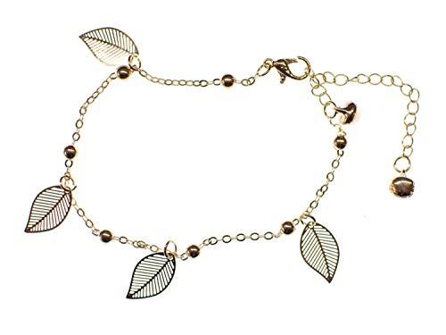Miniblings Glöckchen Blatt Fußkettchen Fußkette Hippie Blätter edel Rosegold