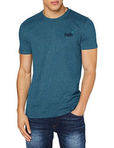 Superdry Herren OL Vintage Embroidery Tee Freizeithemd, Blau (Pool Blue Navy Grit 3EF), Large