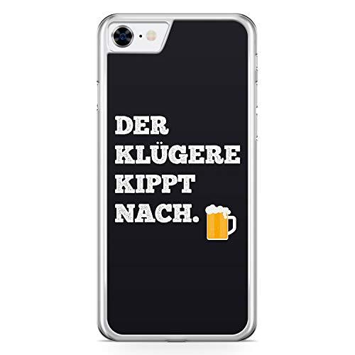 Der Klügere Kippt Nach. Bier - Hülle für iPhone 7 - Motiv Design Spruch Lustig Cool Witzig - Cover Hardcase Handyhülle Schutzhülle Hülle Schale