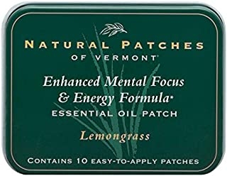 Natural Patches Of Vermont Lemongrass Mental Focus & Energy Essential Oil Body Patches, 10-Count Tin