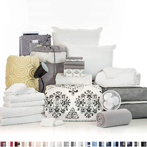 OCM College Dorm Room Essentials 27-Piece Varsity Collection, Twin XL Bedding & Bath Set with Mattress Pad, Topper, Pillows, Sheets, Towels, Comforter and More in Suri and Gray