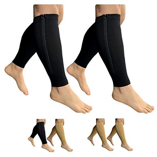 HealthyNees Footless 15 - 20 mmHg Compresión de la pierna de la pantorrilla de compresión 2 pares, Combo Negro