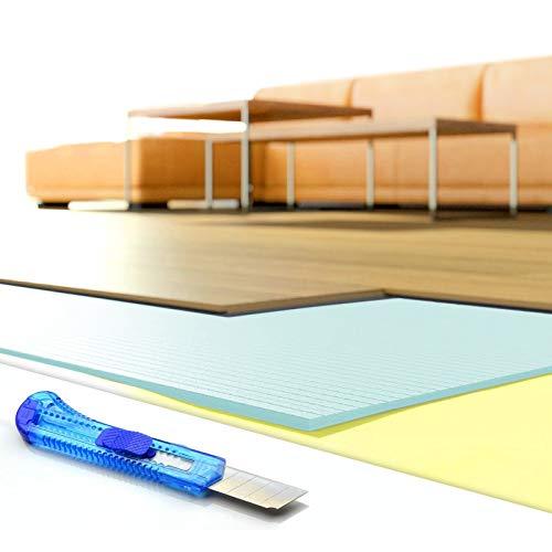 DQ-PP Trittschalldämmung | 33,6m2 | 5mm stark | XPS blau | 0,475x1,18m Platten | GRATIS Cuttermesser | Dämmung Unterlage für Laminat Boden Parkett Fußboden | Trittschalldaemmung Daemmung Unterlagen
