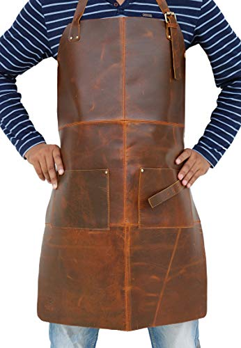 Tuzech Durable Leather Apron Utility/Tool Pockets/Adjustable/Chef/Butcher/Metalworker/CarpenterBlacksmith Heavy Duty Handmade Adjustable Tool Apron - 30.5x23.5 Inches (Double Pocket)
