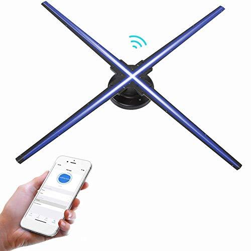 3D Hologram Advertising Fan,1024 * 1024 HD Wi-Fi Led Fan Advertising Machine Proyector para Centros Comerciales,Restaurantes,Bares,Cuatro Cuchillas,áNgulo De VisióN De 160 °.