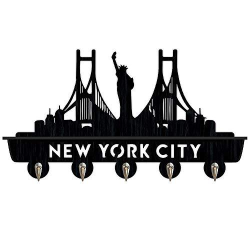 Percheros Pared Perchero Entrada Recibidor Nueva York novedad creativa de madera perchas de ropa única ganchos for llaves regalo sombrero / perchero / ganchos de pared hogar pegatinas de pared de la c
