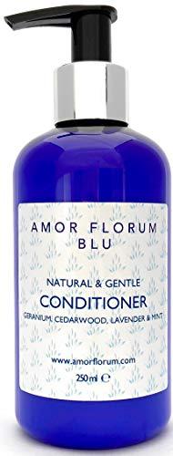 Natural ACONDICIONADOR - COCO, GERANIO, CEDRO, LAVANDA & MENTA - 250ml de AMOR FLORUM BLU. Sin Sulfatos, Sin Parabenos, Sin Silicona. pH 5.2-5.7 para Pieles Sensibles. 99,5% Derivado de Plantas.