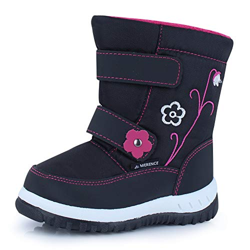 CIOR Winter Snow Boots for Boy and Girl Outdoor Waterproof with Fur Lined(Toddler/Little Kids) U118WXZ012,Black,23