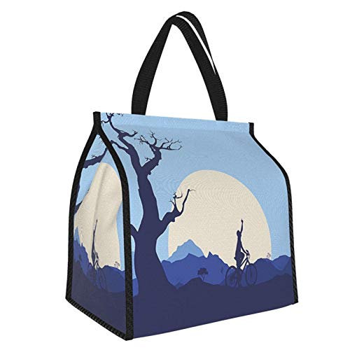 Y-shop Rising Moon in Abandoned Forest with Trees and A Boy Cycling Bike Image Blue and White Picnic Freezer Bag,Large Insulated Cooler Bag Picnic Camping Beach Tour BBQ 30l