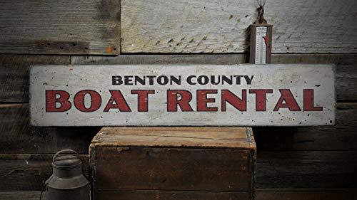 SIGNS 15x50cm Bootverhuur Hout Grappig, Gepersonaliseerde County Naam Lake Beach Locatie Decor, Boot Liefhebber Gift, Rustieke Wanddecoratie Vintage Houten Grappige Boot Huur