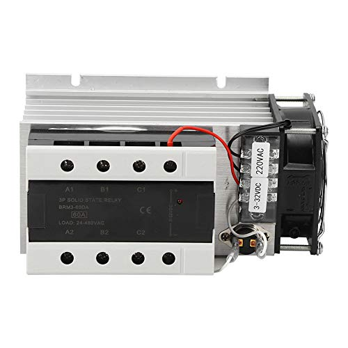 Relé de estado sólido trifásico BERM BRM-60DA-150Y-CT Módulo SSR de protección incorporado con disipador de calor y ventilador eléctrico