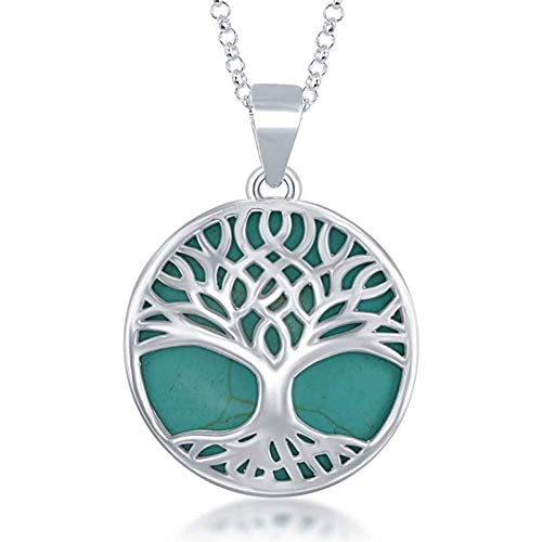 Beaux Bijoux Sterling Silver Natural Turquoise Stone Tree of Life Necklace Turquoise Pendant Necklace for Women