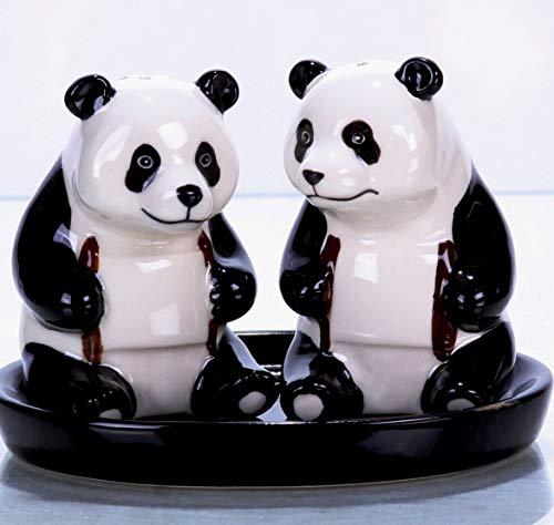 Salz und Pfefferstreuer Tiere Panda Geschenk Geschirr Set Keramik 3 teilig ca 14 x 10 cm