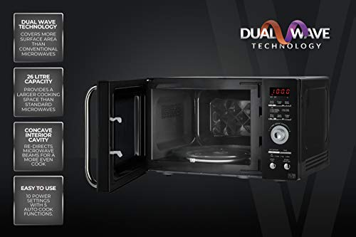 41zFRFSigmL - Tower KOR9GQRT Digital Microwave with 5 Pre-set Autocook Functions, Defrost Function, 900 W, 26 Litre Black