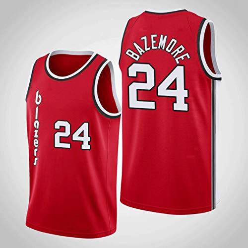 Verakee NBA Trail Blazers #24 Kent Bazemore Swing Sport Shirts Fan Edition Jersey Katoen Mouwloos Heren Mouwloos T-shirt Ademend