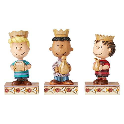 Enesco Peanuts by Jim Shore Christmas Pageant Three Wise Men Figurine Set, 4 Inch, Multicolor,6004973