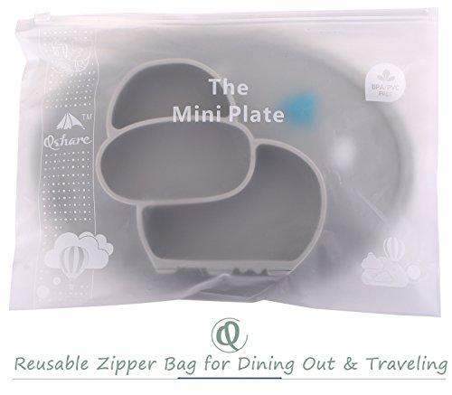QShare幼児用プレート、乳幼児用のベビープレート、子供向けのポータブルBPA、FDA認定の幼児用食器洗い機、電子レンジ用安全なシリコンプレート 28×20×2.5 cm