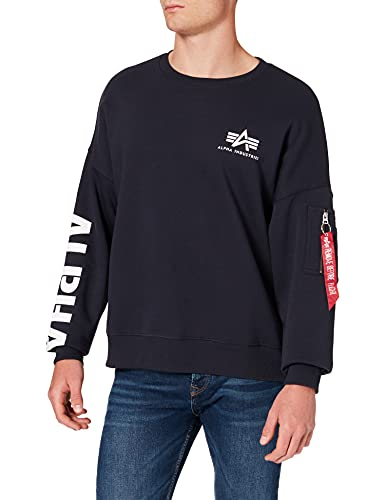ALPHA INDUSTRIES Sleeve Print OS Sweater Maglia di Tuta, Rep.Blue, M Uomo