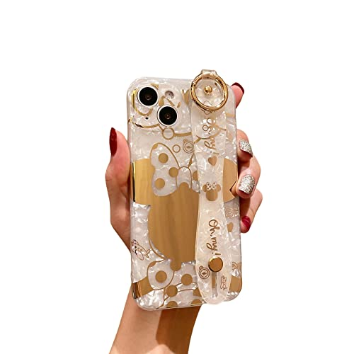 Danzel Cute Case for iPhone 13 6.1', Cartoon Minnie Mouse Sparkle Bling Cover, Wrist Strap Kickstand Soft TPU Shockproof Protective for Women Girls