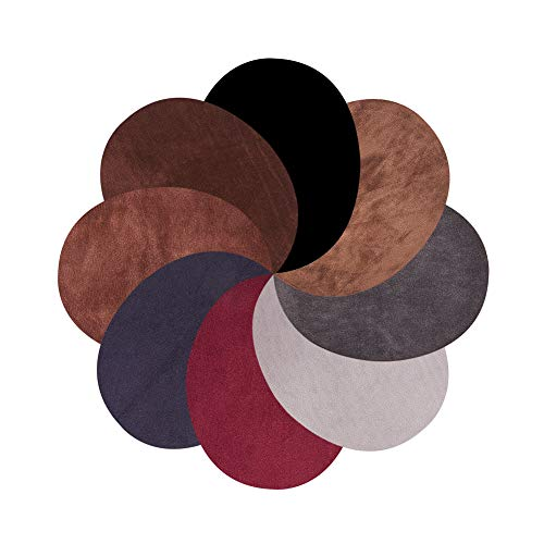 PH PandaHall 16pcs 8 Colors Oval Elbow Suede Fabric Appliques Cloth Iron On and Sew On Knee Patches for Sweatshirt Loose T Shirt Blouses Tops Accessories, 4.3 x 5.5Inch