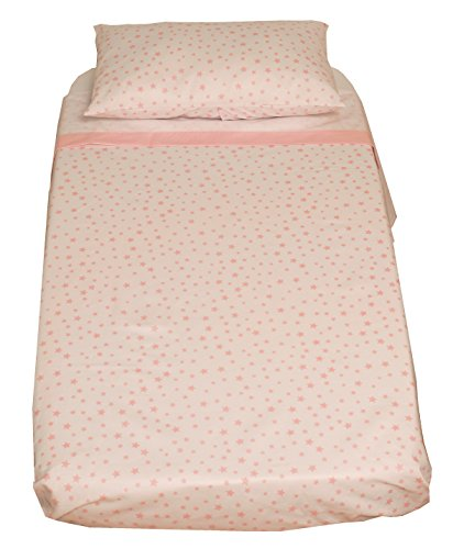 Ti TIN 3-delad sänguppsättning – påslakan för spjälsäng, 60 x 120 cm | påslakan + dra-på-lakan med elastiskt band + örngott, 100 % bomull poplin för spjälsäng, stjärndesign, rosa