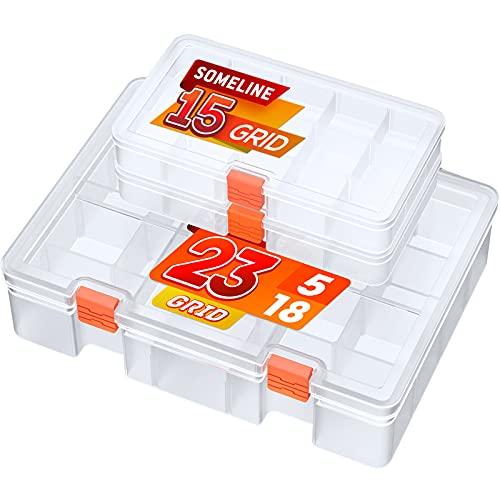 SOMELINE Cajas de Almacenamiento de plástico con 15 Rejillas, Organizador Transparente para Accesorios de joyería y Pendientes con divisores Ajustables para Herramientas de Tornillos