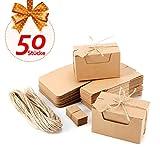 Anladia 50x Kraftpapier Geschenkbox Geschenkschachtel Kartonage 10x6x6cm Geschenkverpackung Cupcake Box Aufbewahrungsbox Gastgeschenk mit Geschenkanhänger Hochzeit Party Tischdeko