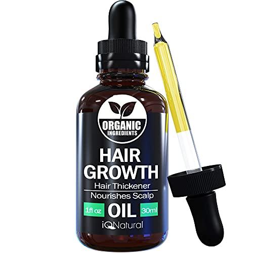Hair Growth Serum By IQ Natural - Hair Growth Oil to Help Grow Natural Stronger, Thicker, Longer Hair - Hair Growth Oil Made With Jamaican Black Castor Oil - 1oz (30ml)