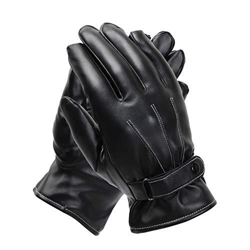 soul young Herren Schwarz Handschuhe Fahren Winter Lederhandschuhe Outdoor Warme Touchscreen Handschuhe mit Luxuriöse eschenkbox