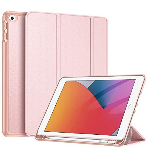 FINTIE Custodia per iPad 8a Generazione 2020 / 7a Generazione 2019 10.2 Pollici con Built-in Pencil Holder - Sottile Leggero Cover Posteriore in Morbido TPU con Auto Sonno/Sveglia, Oro Rosa