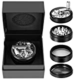 Hand Spice Herb Grinder Unbreakable Aluminum Grinder for Herb and Spice Lightweight for Easy Storage and Carrying 4 Parts (black)