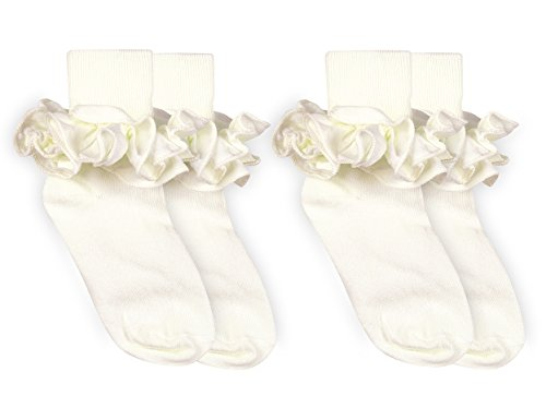 Jefferies Socks Girls Misty Ruffle Turn Cuff Socks 2 Pair Pack (M - USA Shoe 12-6 - Age 5-10 Years, Ivory)