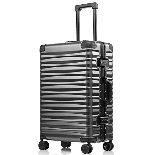 kroeus(クロース)旅行用品 スーツケース 安心1年間保証 フレーム開閉 海外TSAロック搭載 8輪キャスター キャリーバッグ 24