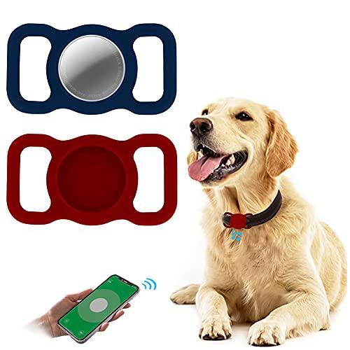 2 Piezas Funda Protectora de Silicona para Airtags,Woffoly Soporte de Bucle para Mascotas con Seguimiento GPS,Protector de Cubierta Antirrayas Compatible con Airtag para Collar de Perro y Gato,Mochila