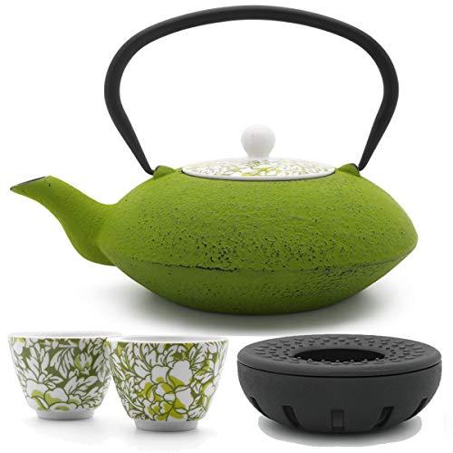 Bredemeijer Teekanne asiatisch Gusseisen Set grün 1,2 Liter mit Tee-Filter-Sieb und gusseisernen Stövchen inkl. Teebecher Porzellan