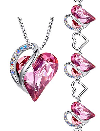 Leafael Infinity Love Heart Jewelry Set Bundle with Tourmaline Rose Pink Birthstone Crystal for October, Necklace Bracelet, Silver-tone