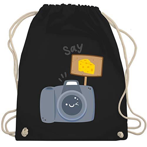 Shirtracer Fotografen - Kamera Say Cheese - Unisize - Schwarz - geschenk für einen fotografen - WM110 - Turnbeutel und Stoffbeutel aus Baumwolle