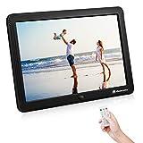 Powerextra - Marco de fotos digital de 8 pulgadas HD con pantalla IPS de alta resolución de 1280 x 800, reproductor de música, calendario de alarma, interfaz única y mando a distancia